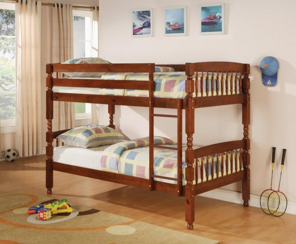 Coral Medium Pine Twin Over Twin Bunk Bed 460223