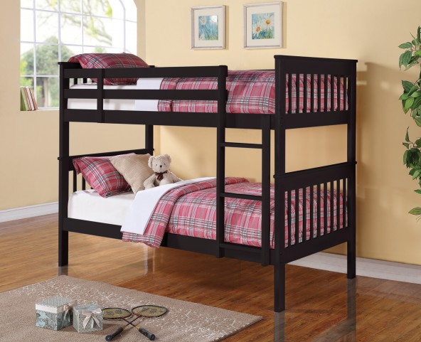 460234 Rich Black Twin Over Twin Bunk Bed