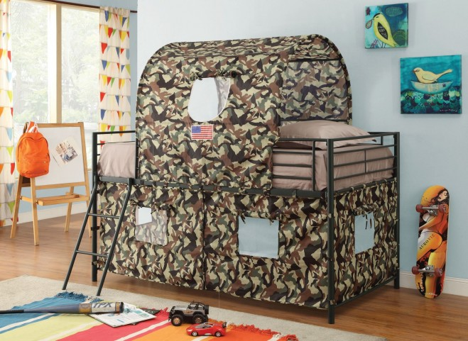 Camouflage Bunk Bed With Camouflage Fabric