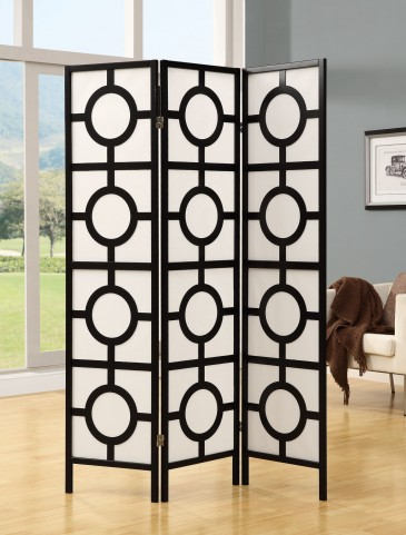 4619 Black Frame 3 Panel Folding Screen