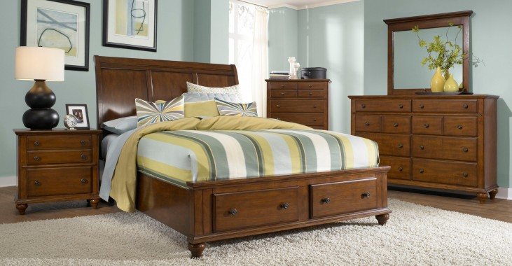 Hayden Place Light Cherry Sleigh Storage Bedroom Set