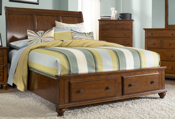 Hayden Place Light Cherry Queen Sleigh Storage Bed