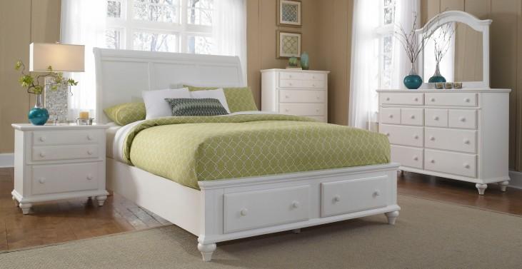 Hayden Place White Storage Sleigh Bedroom Set