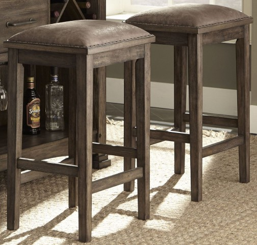 "Stone Brook Rustic Saddle 30"" Barstool Set of 2"