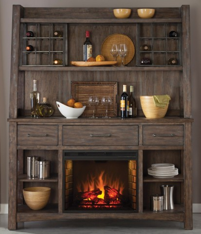 Stone Brook Rustic Saddle Fireplace Buffet with Hutch