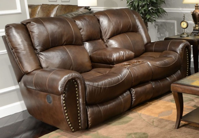 Jordan Tobacco Power Reclining Loveseat with Console