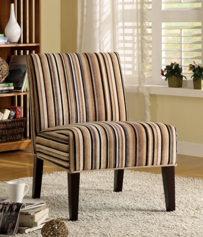 Lifestyle Armless Classic Multi-Colored Stripe Lounge Chair