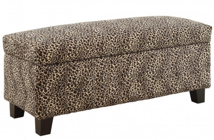 Clair Lift Top Leopard Storage Bench