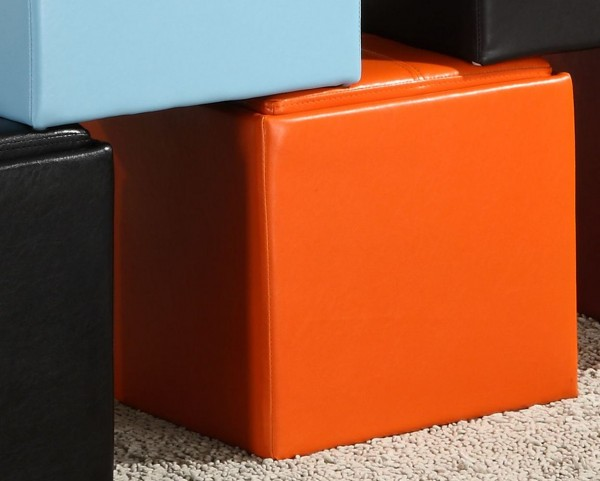 Ladd Storage Cube Ottoman, Orange Bi-Cast Vinyl