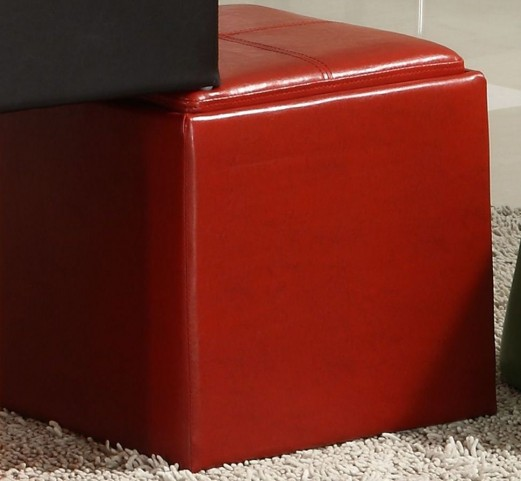 Ladd Storage Cube Ottoman, Red Bi-Cast Vinyl
