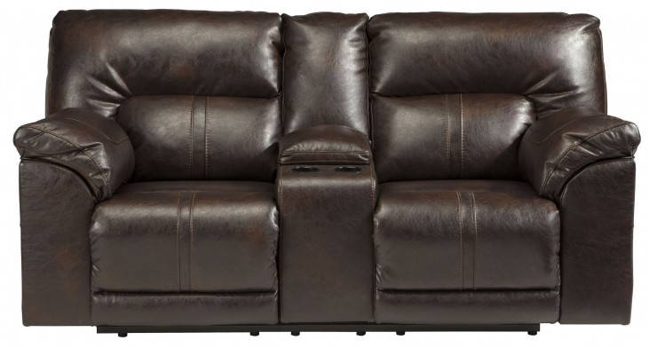 Barrettsville DuraBlend Chocolate Double Power Reclining Console Loveseat