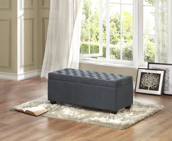 Colusa Grey Fabric Lift Top Storage Bench