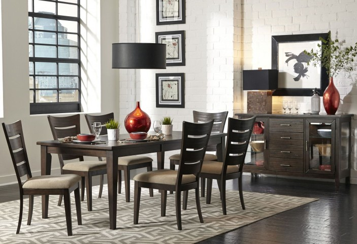 Pebble Creek II Weathered Tobacco Rectangular Leg Dining Room Set