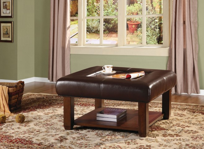 Carroll Storage Dark Brown Ottoman