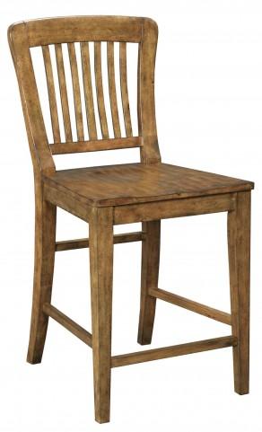 New Vintage Brown Wood Seat Gathering Stool