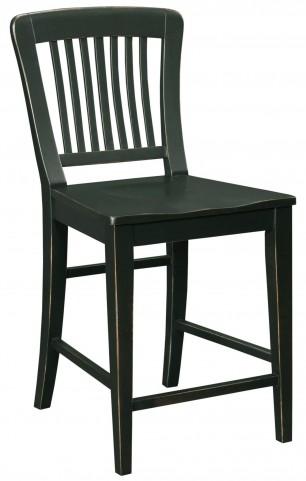 New Vintage Black Wood Seat Gathering Stool