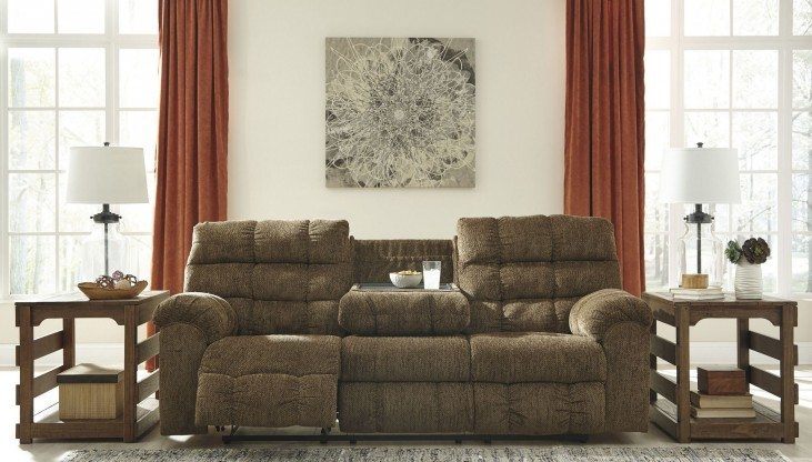 Antwan Truffle Reclining Sofa With Drop Down Table