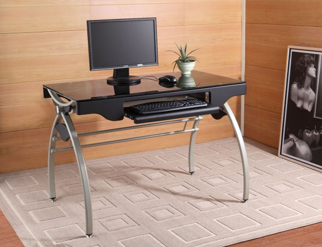 Network Computer Desk With Tempered Black Glass Top