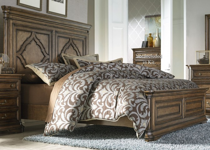 Amelia Antique Toffee King Panel Bed