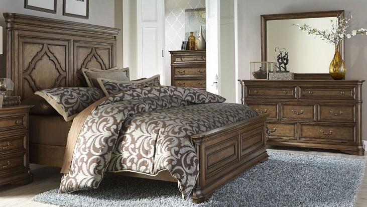 Amelia Antique Toffee Panel Bedroom Set