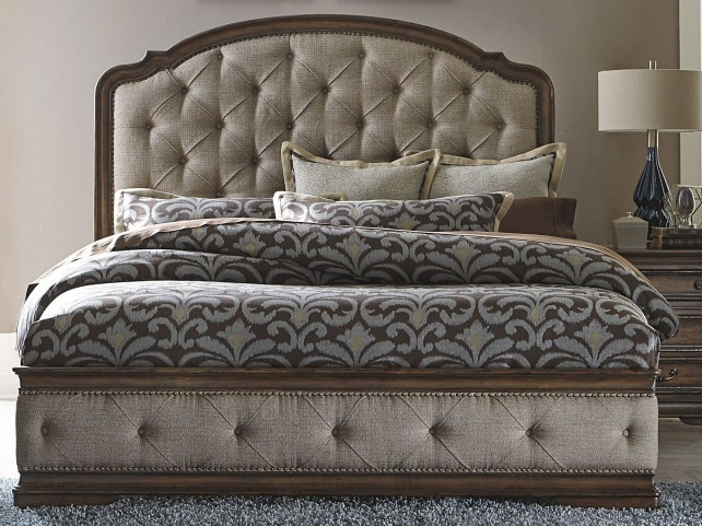 Amelia Antique Toffee Queen Upholstered Mansion Bed