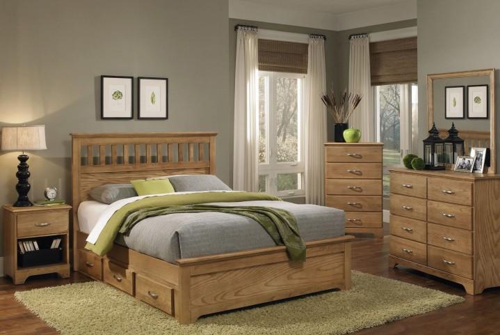 Sterling Clear Oak Panel Bedroom Set