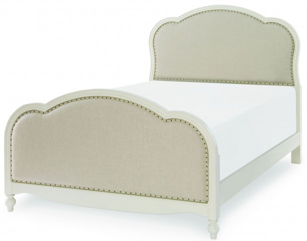 Harmony Antique Linen White Full Victoria Upholstered Panel Bed