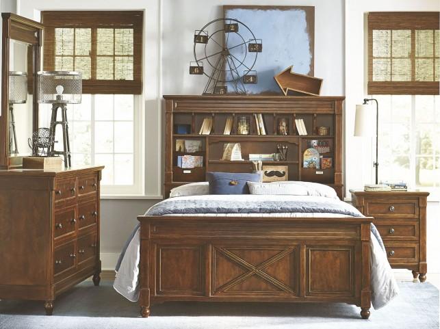Big Sur Saddle Brown Youth Vista Point Bookcase Bedroom Set