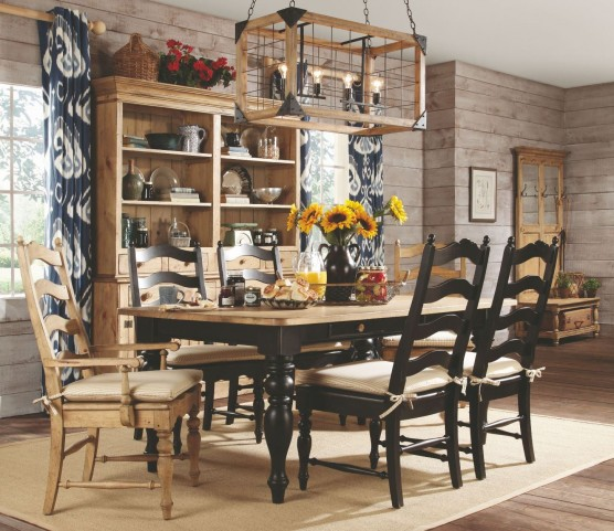 Homecoming Vintage Pine Black Farmhouse Leg Dining Room Set