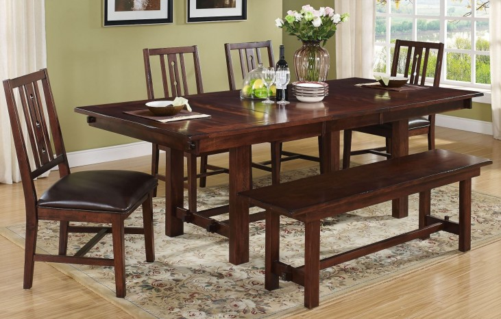Madera African Chestnut Square Extendable Dining Room Set