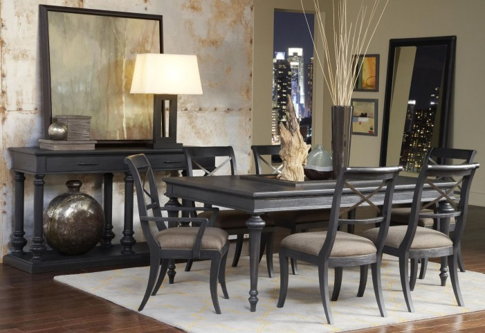 Vintage Tempo Unique Charcoal Rectangular Leg Dining Room Set