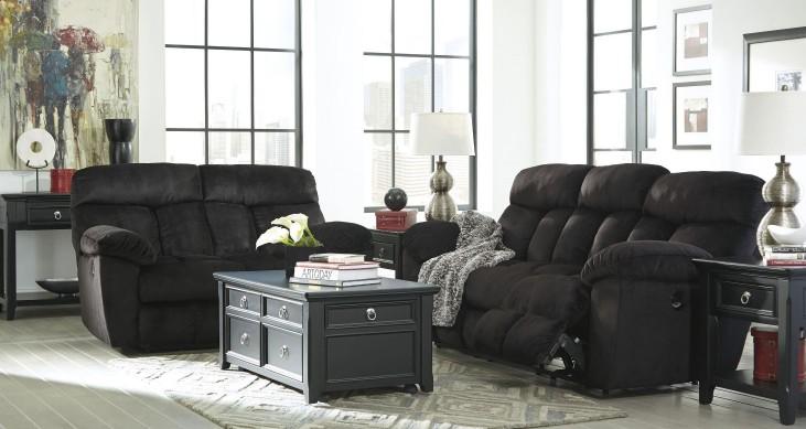 Saul Black Power Reclining Living Room Set