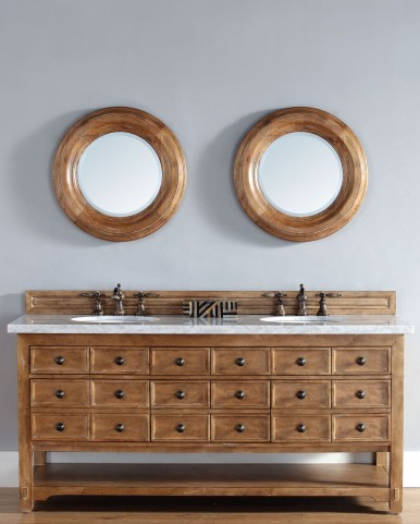 "Malibu 72"" Honey Alder Double Vanity With 4Cm Carerra White Marble Top"