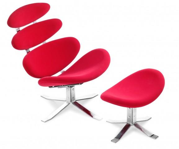 Petal Lounge & Ottoman Red