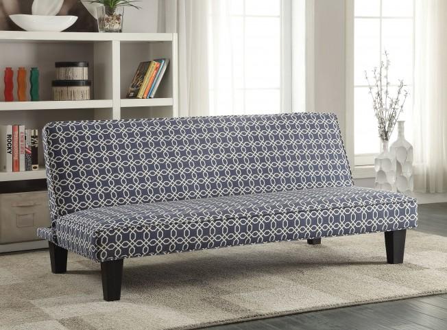 Navy Blue Trellis Pattern Fabric Sofa Bed