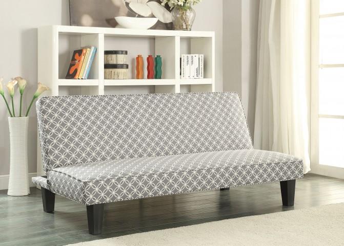 Grey Trellis Pattern Fabric Sofa Bed