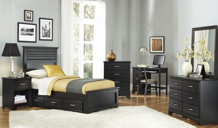 Platinum Black Youth Panel Storage Bedroom Set