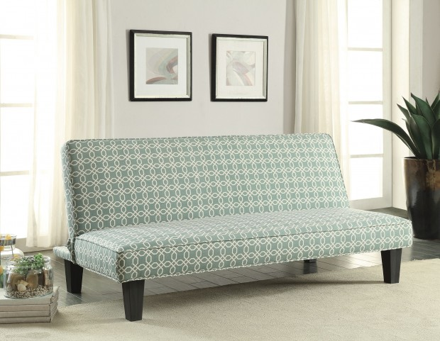 Teal Trellis Pattern Fabric Sofa Bed
