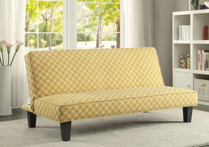 Mustard Trellis Pattern Fabric Sofa Bed