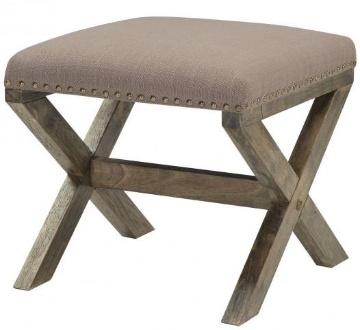 Madeleine Brown Linen Ottoman by Donny Osmond