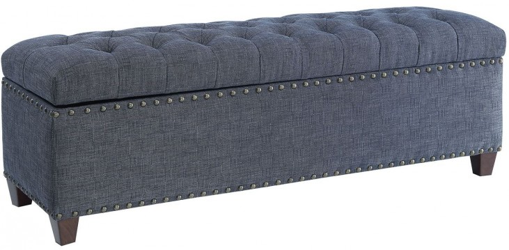 Indigo Fabric Storage Bench