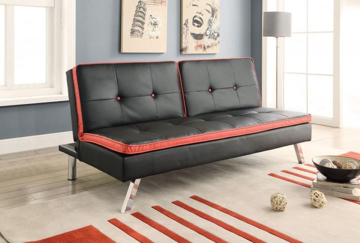500766 Black / Red Edge Sofa Bed