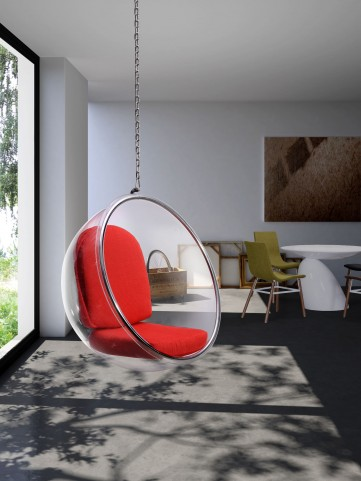 Bolo Suspended Transparent Red Cushion Chair