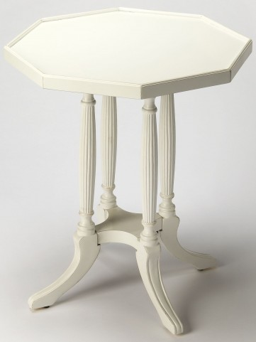 Adolphus Cottage White Octagonal Accent Table