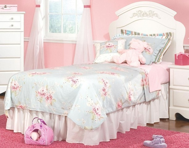 Spring Rose Soft White Twin Panel Bed