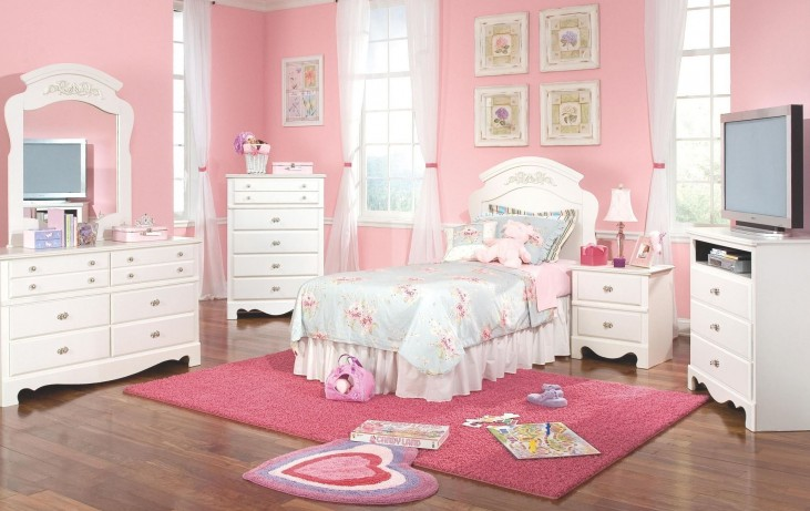 Spring Rose Soft White Youth Panel Bedroom Set