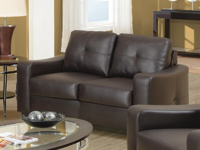 Jasmine Brown Bonded Leather Loveseat