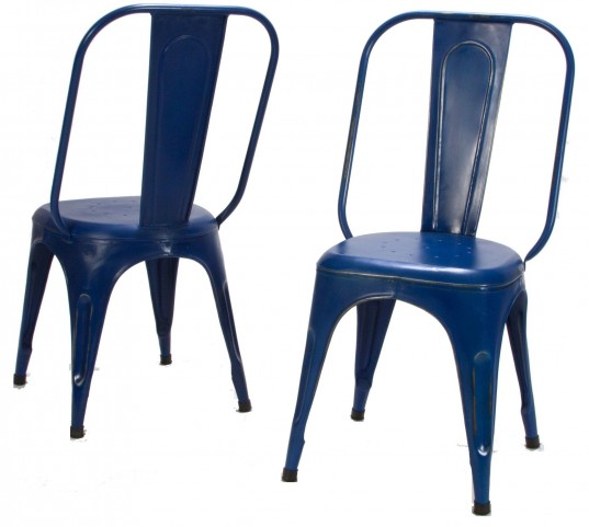 Amara Blue Metal Chair Set of 4