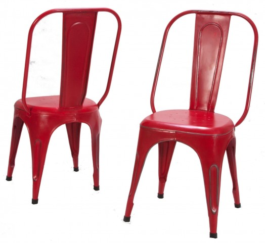 Amara Red Metal Chair Set of 4