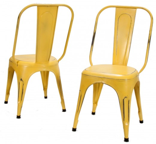 Amara Yellow Metal Chair Set of 4
